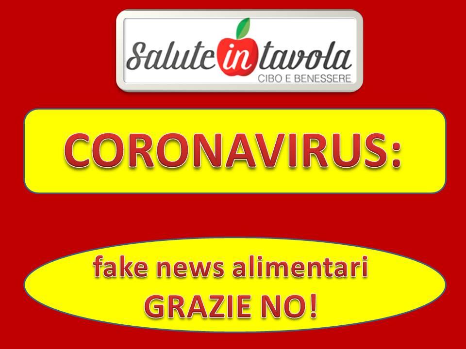 CORONAVIRUS FAKE NEWS ALIMENTARI GRAZIE NO FOTO